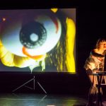Minah Lee with Terence Grigoruk's live projection at LAUNCH Festival 2014