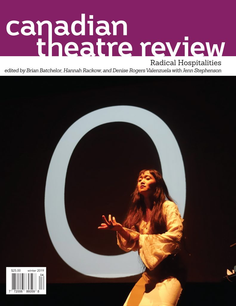 Canadian Theatre Review winter 2019 cover photo featuring Minah Lee with Milton Lim's video